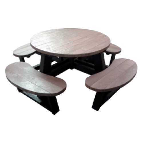 Recycled Picnic Table - Large Round - Black